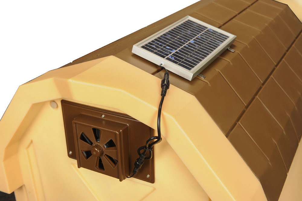 doghouse exhaust fans insulated doghouses by asl With solar powered exhaust fan for dog house